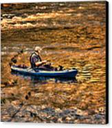 Fishing The Golden Hour Canvas Print by Steven Richardson