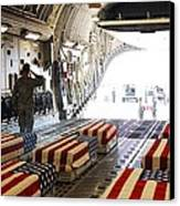 Flag Draped Coffins Of Five Us Soldiers Canvas Print