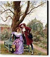 Flirtation Canvas Print by Georges Jules Auguste Cain