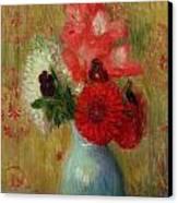 Floral Arrangement In Green Vase Canvas Print by William James Glackens