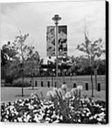 Flowers At Citi Field In Black And White Canvas Print by Rob Hans