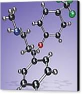 Fluoxetine Drug Molecule Canvas Print by Miriam Maslo