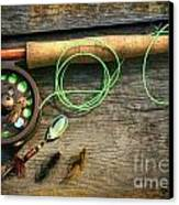 Fly Fishing Rod With Polaroids Pictures On Wood Canvas Print