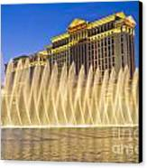 Fountains Of Bellagio In Front Of Caesar's Palace Hotel And Casi Canvas Print