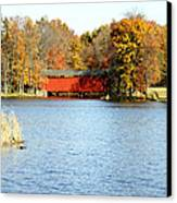 Fowler Lake And Covered Bridge Canvas Print by Franklin Conour