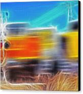 Freight Train At Railroad Crossing 2 Canvas Print by Steve Ohlsen