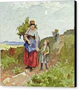 French Peasants On A Path Canvas Print by Daniel Ridgway Knight