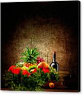 Fruit And Wine Canvas Print by Lourry Legarde