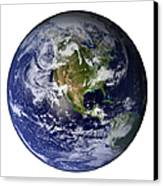 Full Earth Showing North America White Canvas Print