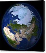 Full Earth Showing The Arctic Region Canvas Print by Stocktrek Images