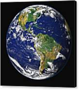 Full Earth Showing The Western Canvas Print