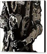 Full Length Figure Portrait Of Swat Team Leader Alpha Chicago Police In Full Uniform With War Gun Canvas Print by M Zimmerman MendyZ