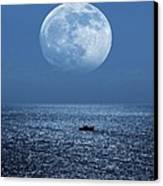Full Moon Rising Over The Sea Canvas Print by Detlev Van Ravenswaay