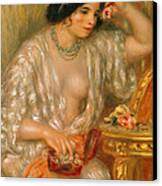 Gabrielle With Jewellery Canvas Print by Pierre Auguste Renoir