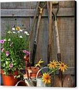 Garden Shed With Tools And Pots  Canvas Print