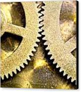 Gears From Inside A Wind-up Clock Canvas Print by John Short