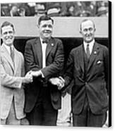George Sisler, Babe Ruth And Ty Cobb Canvas Print by Everett
