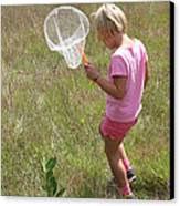 Girl Collecting Insects In A Meadow Canvas Print