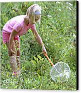 Girl Collects Insects In A Meadow Canvas Print by Ted Kinsman