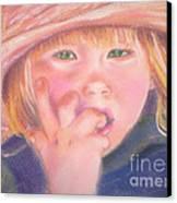Girl In Straw Hat Canvas Print by Julie Brugh Riffey
