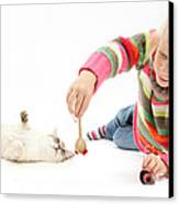 Girl Playing With Cat Canvas Print