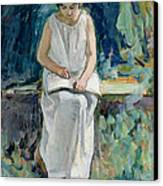 Girl Reading Canvas Print by Henri Lebasque