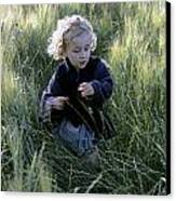 Girl Running In Wheat Field Canvas Print by Sami Sarkis