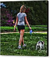 Girl Walking Dog Canvas Print by Paul Ward