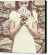 Girl With Hydrangea Canvas Print