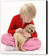 Girl With Puppy Canvas Print by Mark Taylor