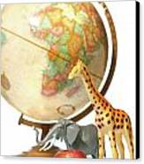 Globe With Toys Animals On White Canvas Print by Sandra Cunningham