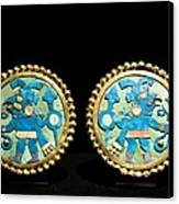 Gold Ear Ornaments, Moche Florescent Canvas Print by Tony Camacho