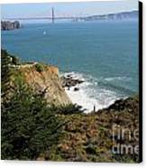 Golden Gate Bridge Viewed From The Marin Headlands Canvas Print by Wingsdomain Art and Photography