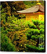 Golden Pavilion Temple In Kyoto Glowing In The Garden Canvas Print
