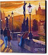 Golden Prague Charles Bridge Sunset Canvas Print by Yuriy  Shevchuk