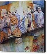 Gossip Bench Canvas Print by Patsy Sharpe