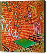 Grafitti Dining Canvas Print by Joan  Minchak