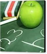Green Apple For School Canvas Print by Sandra Cunningham