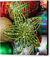 Green Star Christmas Ornament Canvas Print by Garry Gay