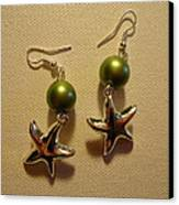 Green Starfish Earrings Canvas Print by Jenna Green