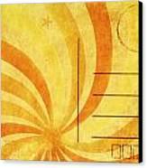 Grunge Ray On Old Postcard Canvas Print