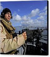Gunners Mate Mans An M2 Hb .50-caliber Canvas Print by Stocktrek Images