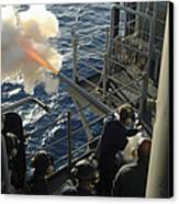 Gunners Mates Fire The .40mm Saluting Canvas Print by Stocktrek Images