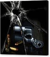 Handgun Bullets And Bullet Hole Canvas Print