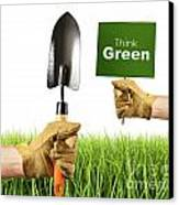 Hands Holding Garden Trowel And Sign Canvas Print