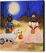 Happy Halloweenies Mummy Policeman And Princess Canvas Print by Stella Violano