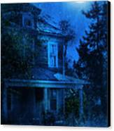 Haunted House Full Moon Canvas Print by Jill Battaglia