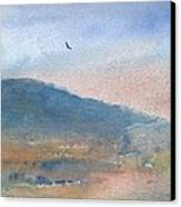 Hawk At Sunset Over Stenbury Down Canvas Print by Alan Daysh