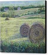 Haybales Durham County Canvas Print by Ruth Greenlaw
