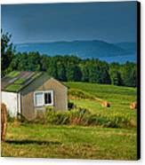 Hayfield And Lake II Canvas Print